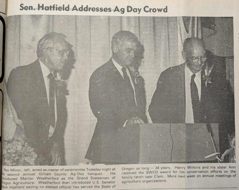 Remembering Mark Hatfield's last visit to Gilliam, Wheeler counties